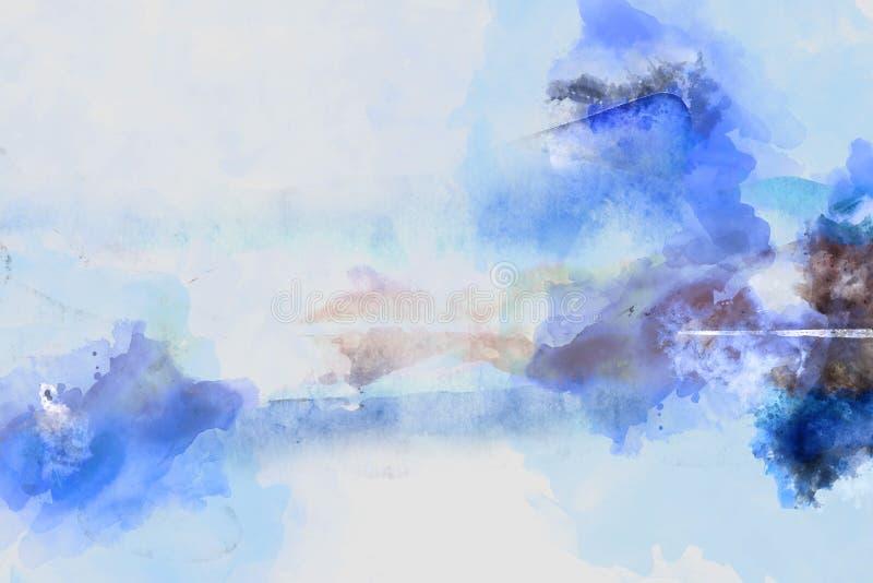 Het digitale abstracte schilderen in blauwe schaduwen vector illustratie