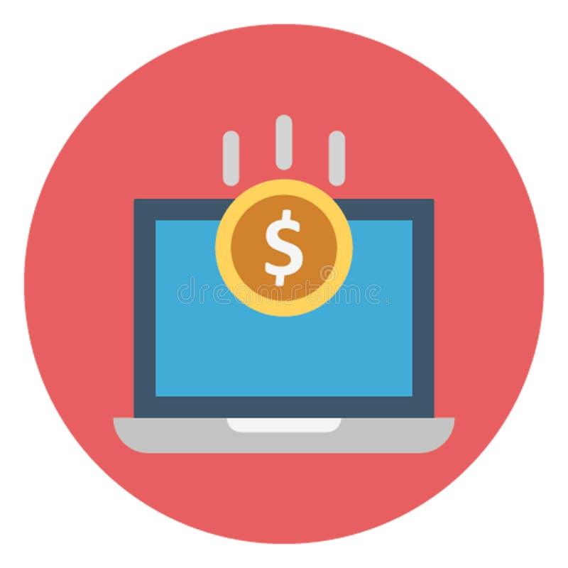 Het digitale bankwezen, het geld van het monitorscherm isoleerde Vectorpictogram dat gemakkelijk kan worden uitgegeven stock illustratie