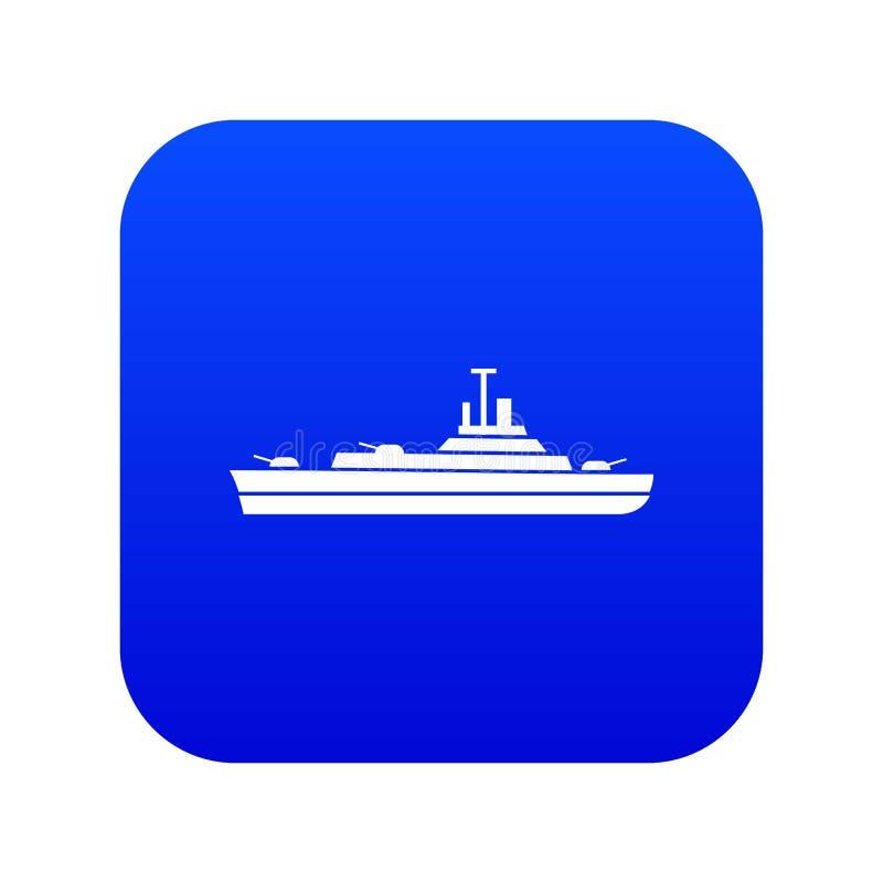 Het digitale blauw van het oorlogsschippictogram royalty-vrije illustratie