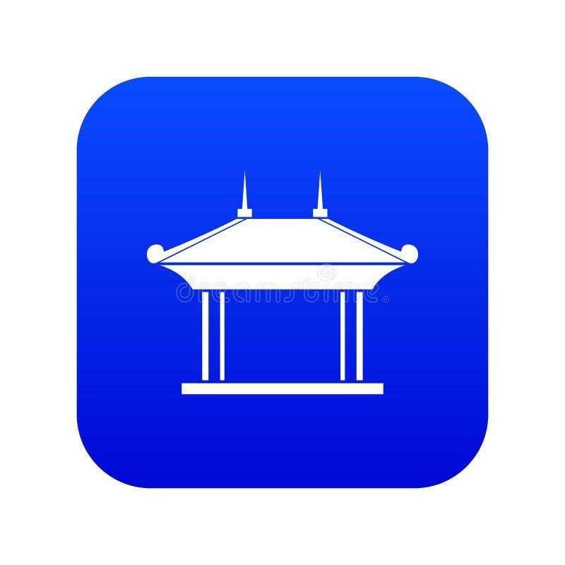 Het digitale blauw van het pagodepictogram vector illustratie