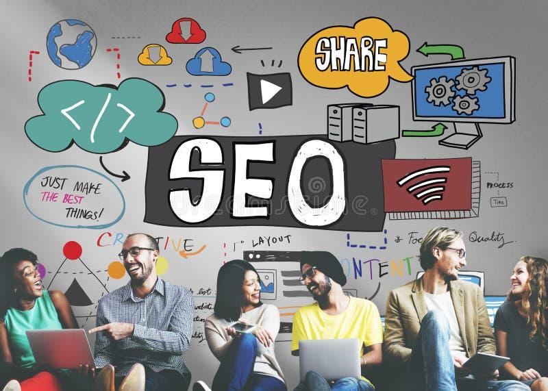 Het Digitale Concept van SEO Search Engine Optimization Internet royalty-vrije stock foto's
