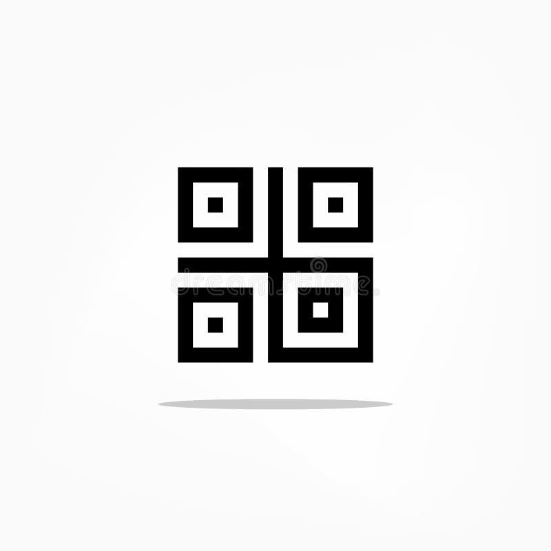 Het digitale die pictogram van de qrstreepjescode op witte achtergrond wordt geïsoleerd vector illustratie