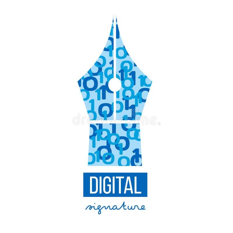 Het digitale elektronische malplaatje van het handtekeningsembleem stock illustratie