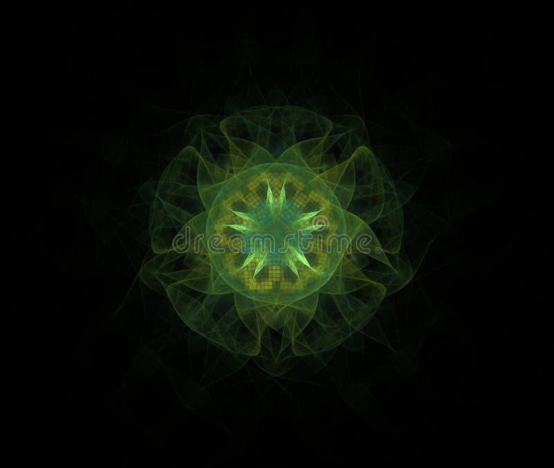 Het digitale geproduceerde beeld in de vorm van abstracte geometrische vormen van diverse schaduwen en de kleuren voor gebruik in royalty-vrije illustratie