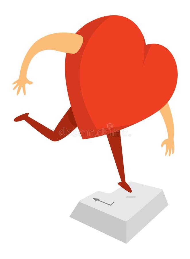 Het digitale hart drukken gaat of keert sleutel in terug stock illustratie