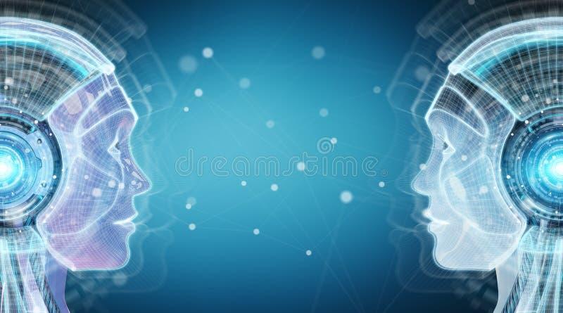 Het digitale kunstmatige intelligentie cyborg interface 3D teruggeven stock illustratie