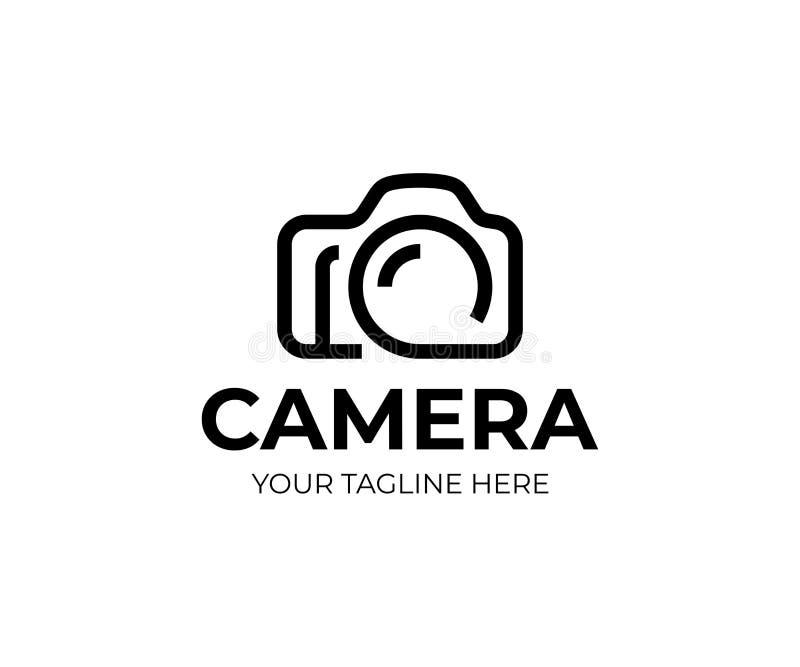 Het digitale malplaatje van het cameraembleem Fotografie vectorontwerp stock illustratie
