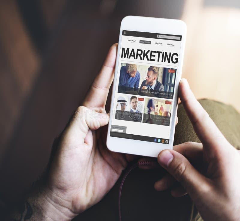 Het digitale Marketing Commerciële Sociale Media Concept van Internet stock afbeelding