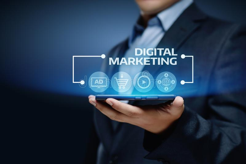 Het digitale Marketing Inhoud Planning concept van de Reclamestrategie royalty-vrije stock afbeelding