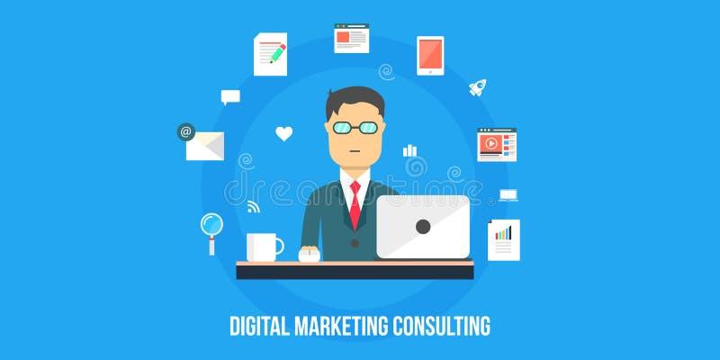Het digitale marketing raadplegen - vlakke ontwerpillustratie, Webbanner stock illustratie