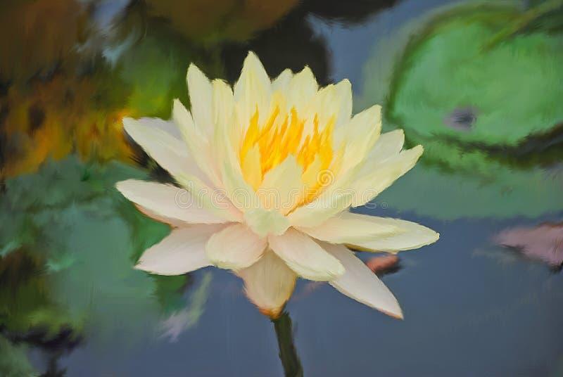 Het digitale olie hijgen Gele waterlelie, lotusbloembloem die in vijver bloeien royalty-vrije stock foto's