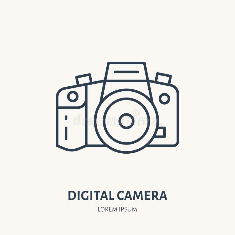 Het digitale pictogram van de camera vlakke lijn Het teken van het fotografiemateriaal Dun lineair embleem voor fotostudio vector illustratie
