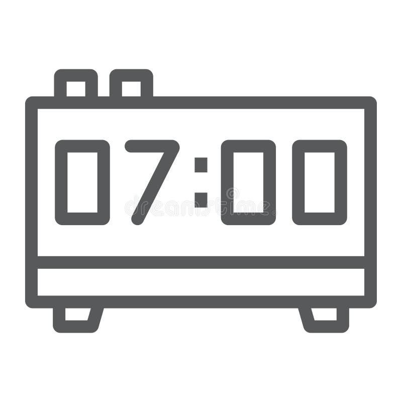 Het digitale pictogram van de kloklijn, elektronisch en digitaal stock illustratie