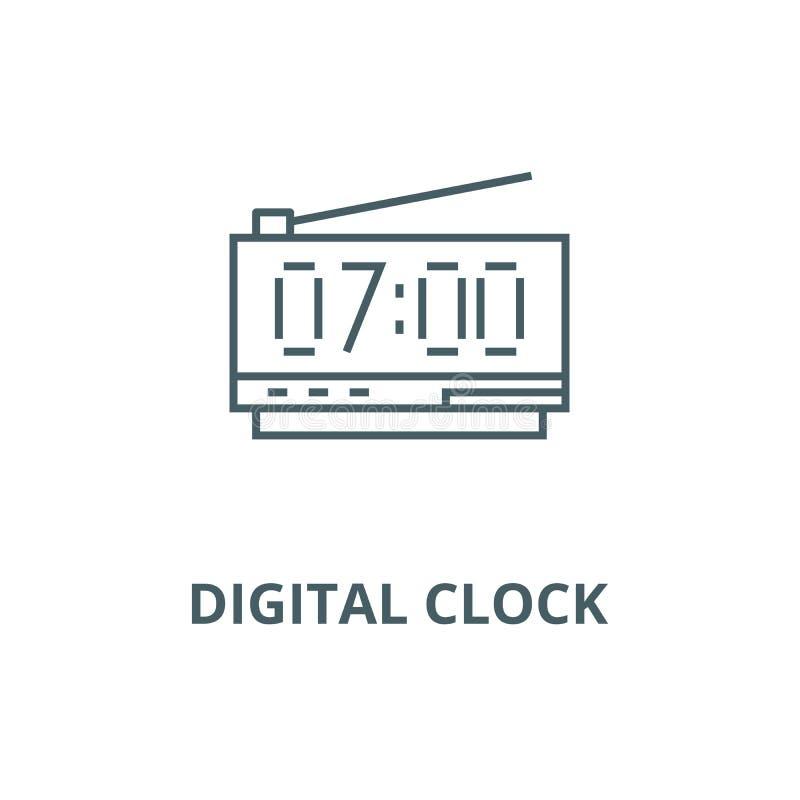 Het digitale pictogram van de kloklijn, vector Het digitale teken van het klokoverzicht, conceptensymbool, vlakke illustratie stock illustratie