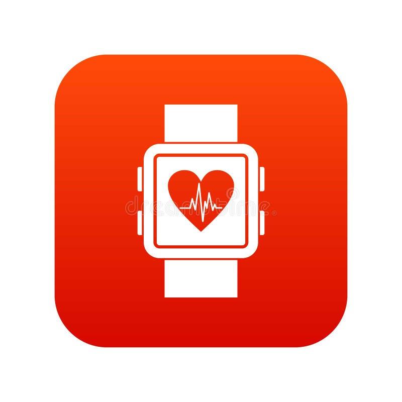 Het digitale rood van het Smartwatchpictogram stock illustratie