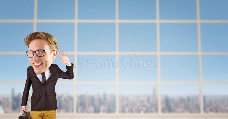 Het digitale samengestelde beeld van de aktentas van de zakenmanholding met wapen hief terwijl status tegen wind op stock fotografie