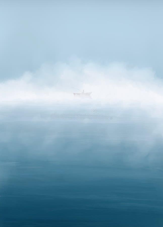 Het digitale schilderen Ochtendmeer met mist en visser in de boot Visserij kalme achtergrond stock foto's