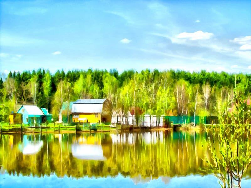 Het digitale schilderen Tekeningswaterverf Landelijk landschap stock illustratie