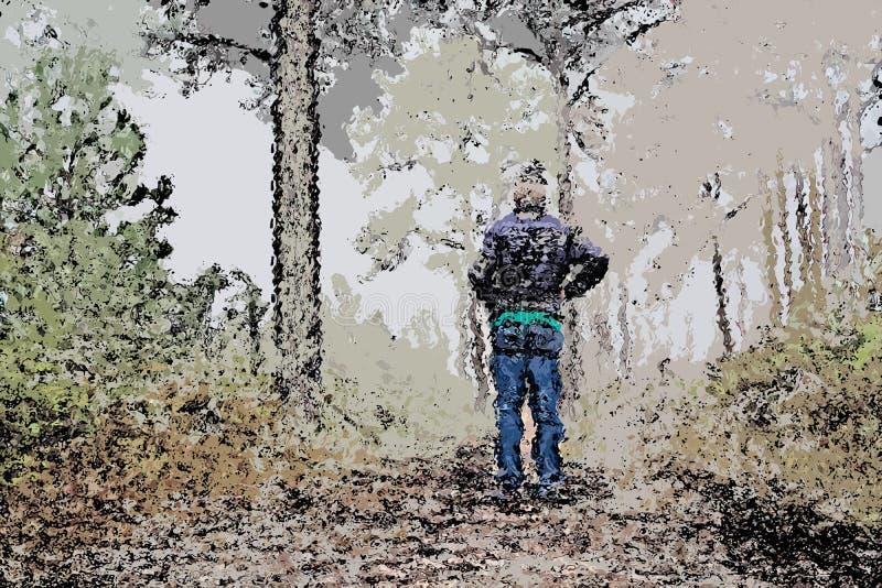 Het digitale schilderen van de mens die zich in pijnboombos bevinden, olieverfschilderijillustratie stock illustratie