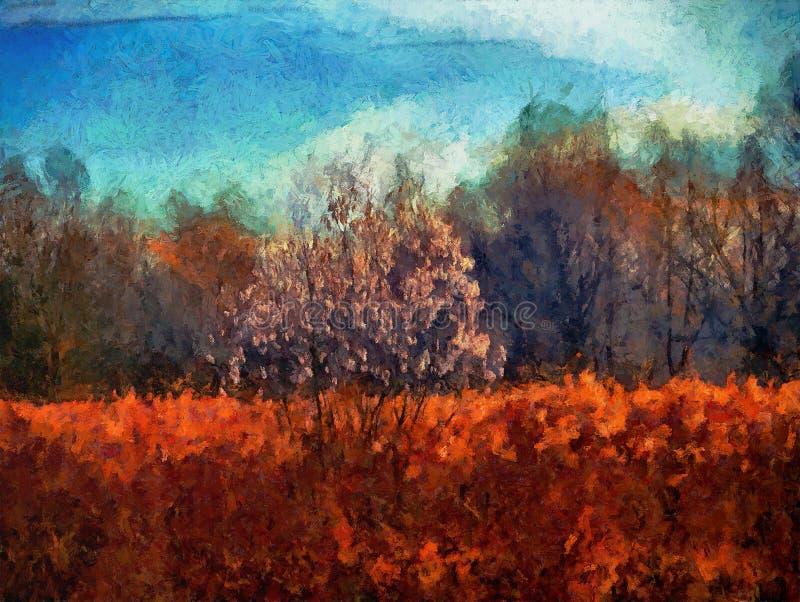 het digitale schilderen van een boom in het droge gras royalty-vrije illustratie