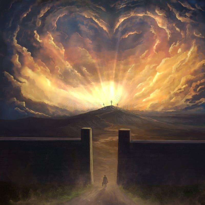 Het digitale schilderen van liefde omringend kruis vector illustratie