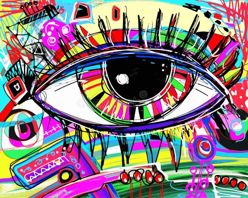 Het digitale schilderen van menselijk oog, kleurrijke samenstelling in contempor royalty-vrije illustratie
