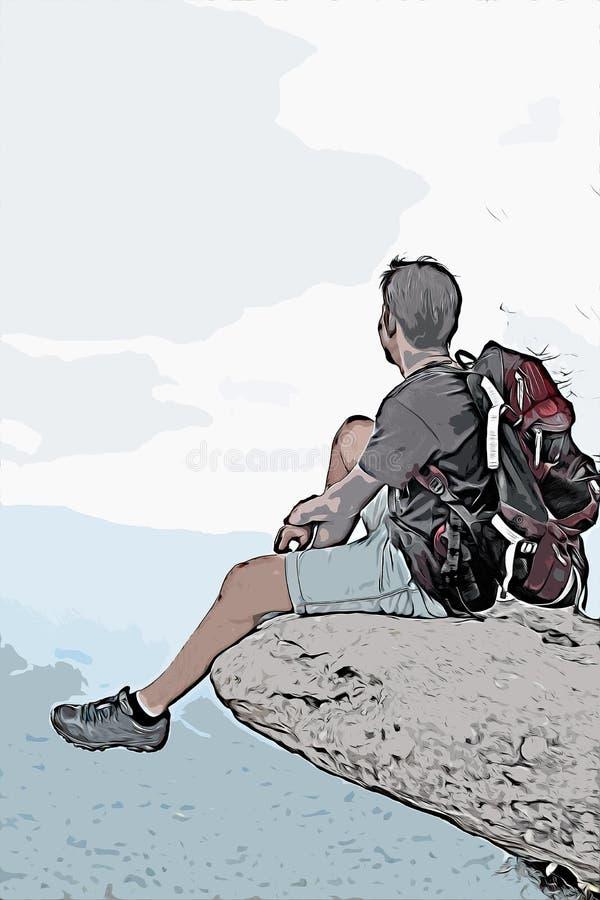 Het digitale schilderen van mensenzitting op klip, zwart-wit beeld stock illustratie