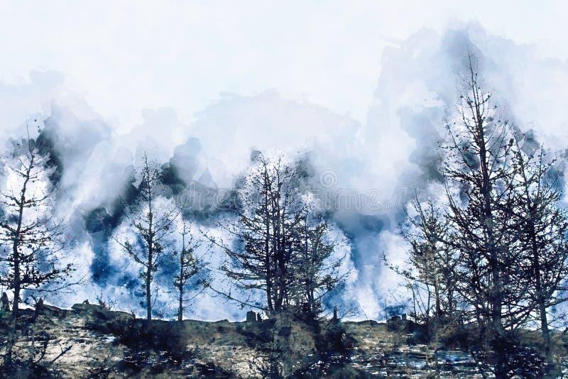 Het digitale schilderen van pijnboombomen in de winter, illustratie van pijnboombomen voor achtergrond stock illustratie