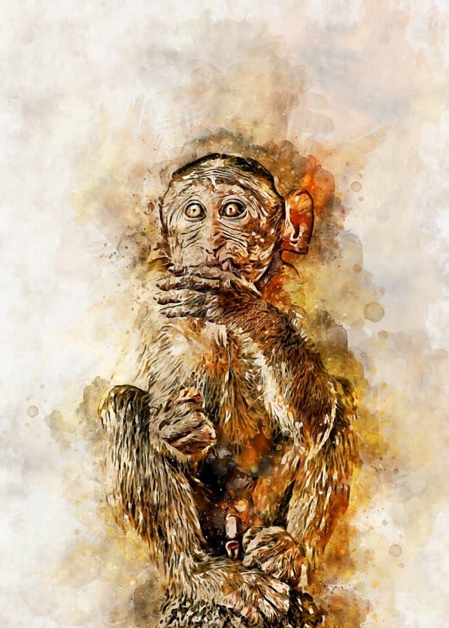 Het digitale schilderen van het wild op canvas - Aap stock afbeeldingen