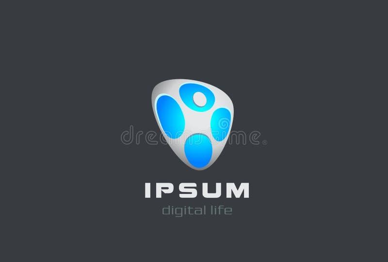 Het digitale Sportfitness karakter van het het Embleemembleem van het Mensenweb stock illustratie