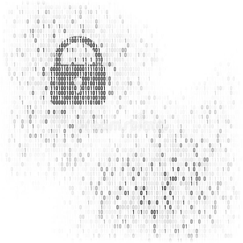 Het digitale teken van de slotwacht Binaire code vectorachtergrond met nummer één en nul Kunstmatige intelligentie Grote Gegevens vector illustratie