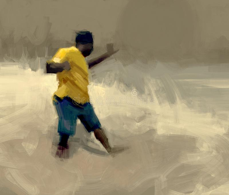 Het digitale traditionele schilderen van een mens die de vernietiging van de wereld ervaren aangezien wij het illustratie kennen royalty-vrije illustratie