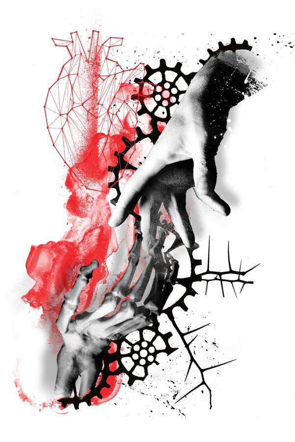 Het digitale van het de polka grunge leven van het kunstafval dode hart stock illustratie