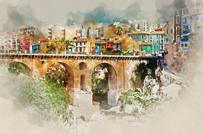 Het digitale waterverf schilderen van de stad van Villajoyosa/van La Vila Joiosa stock illustratie