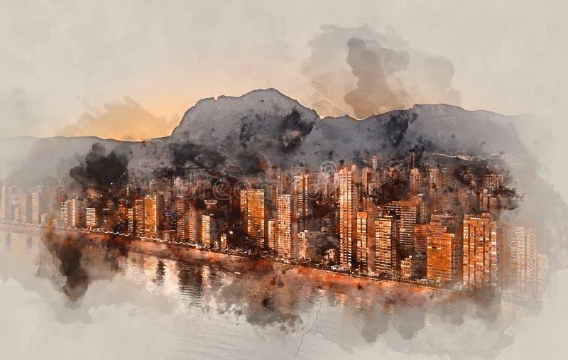 Het digitale waterverf schilderen van een Benidorm stad royalty-vrije illustratie