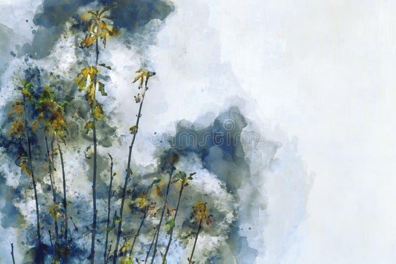 Het digitale waterverf schilderen van gele bloemen stock illustratie