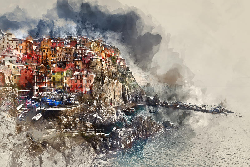 Het digitale waterverf schilderen van Manarola Italië royalty-vrije illustratie