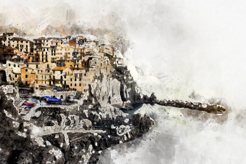 Het digitale waterverf schilderen van Manarola La Spezia Italië royalty-vrije illustratie