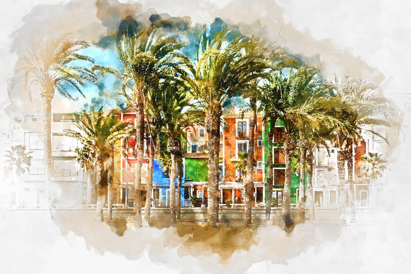 Het digitale waterverf schilderen van Villajoyosa-stad, Spanje vector illustratie