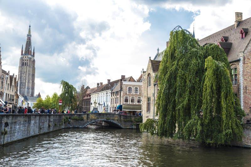 Het Dijver-Kanaal in Brugge, België royalty-vrije stock foto