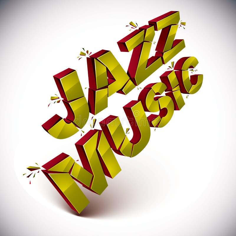 Het dimensionale verbrijzelde vectorwoord van de jazzmuziek, eigentijdse muziek royalty-vrije illustratie