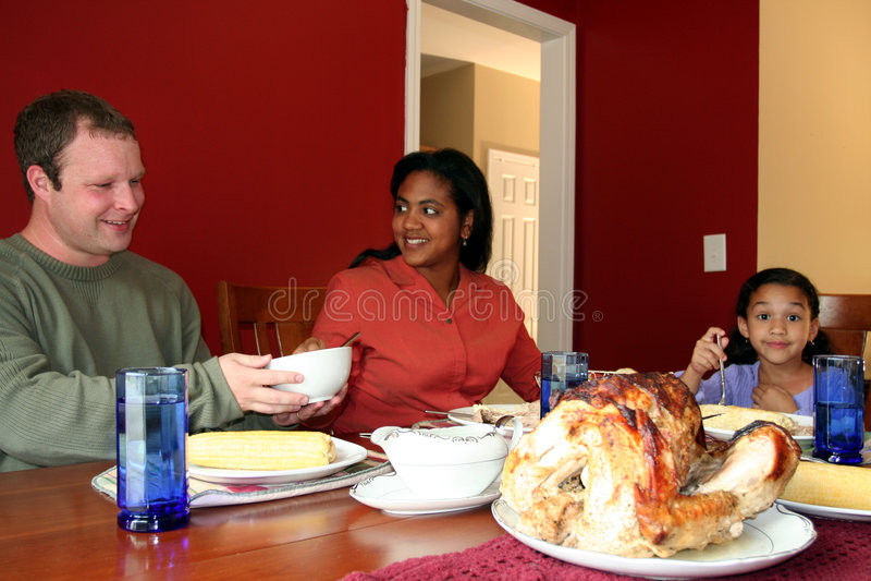 Het Diner van de Familie van de dankzegging royalty-vrije stock foto's