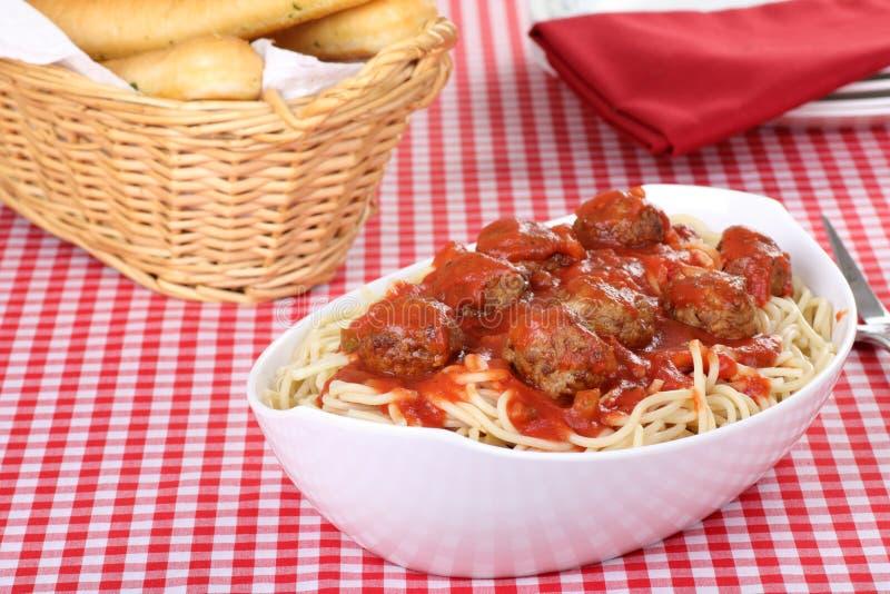 Het Diner van de spaghetti en van het Vleesballetje stock foto