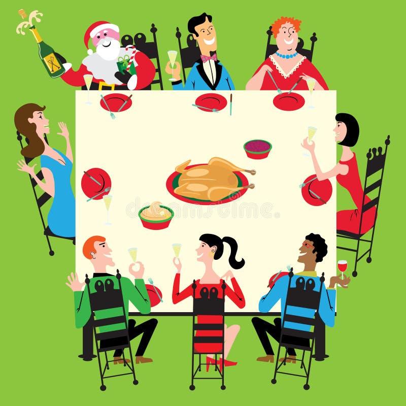 Het diner van de vakantie met Kerstman stock illustratie