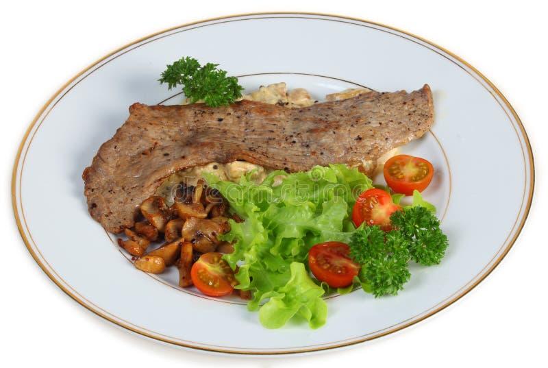 Het diner van het kalfsvlees escalope stock afbeeldingen