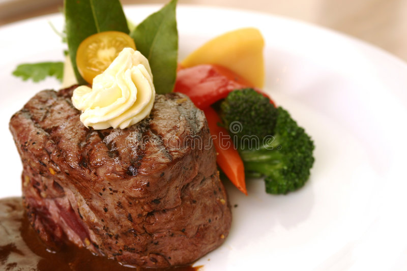 Het Diner van het Lapje vlees van het haasbiefstuk stock afbeelding