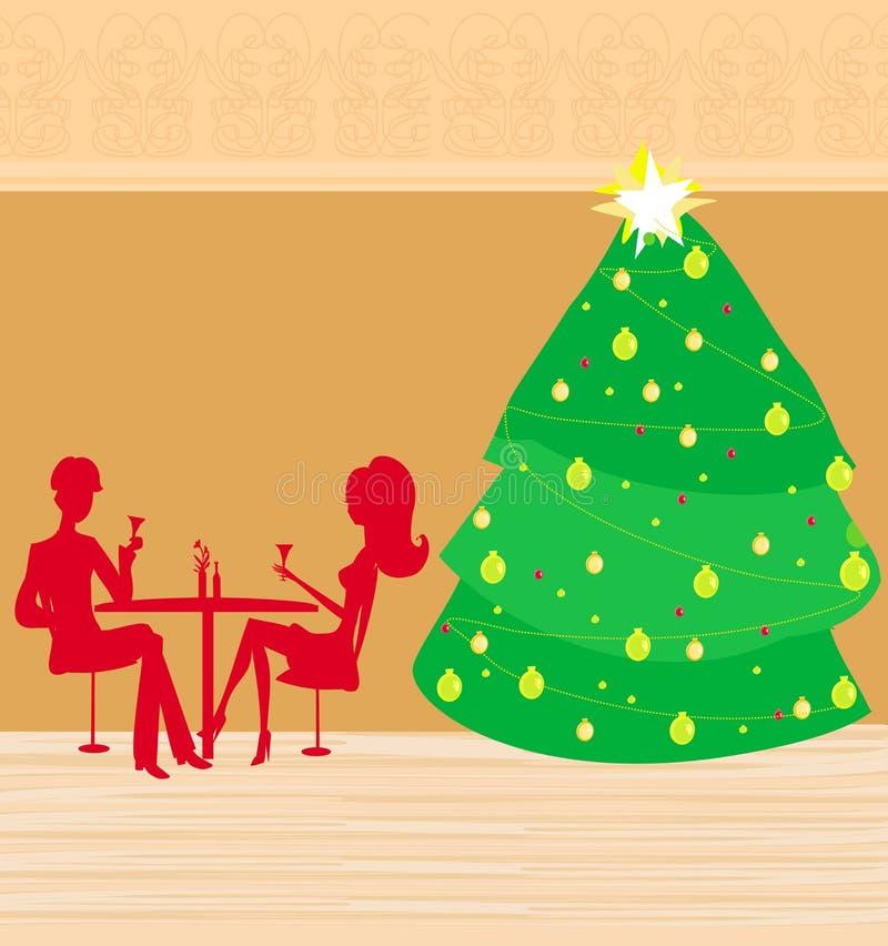 Het diner van Kerstmis. royalty-vrije illustratie