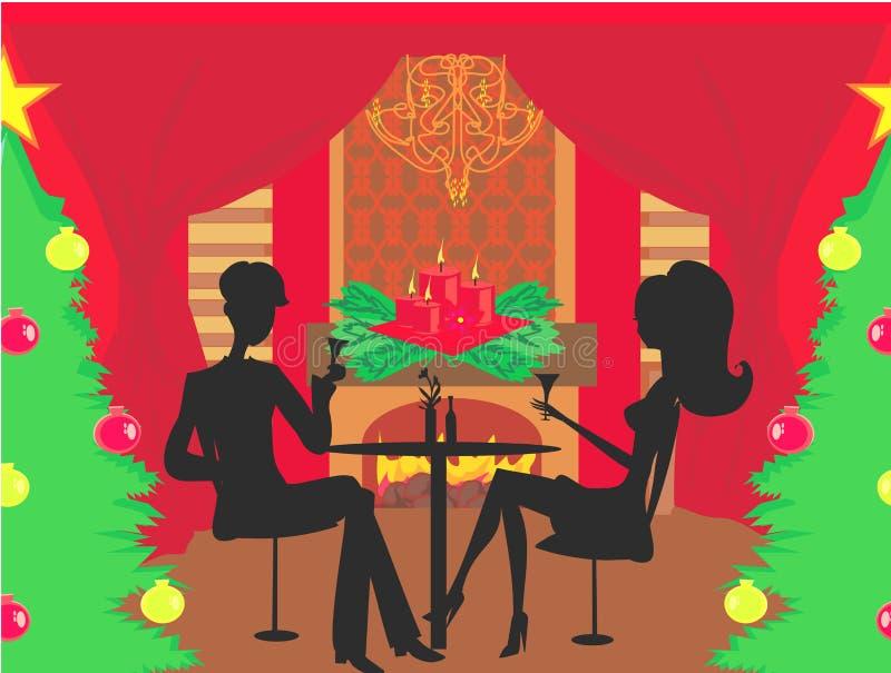 Het diner van Kerstmis royalty-vrije illustratie