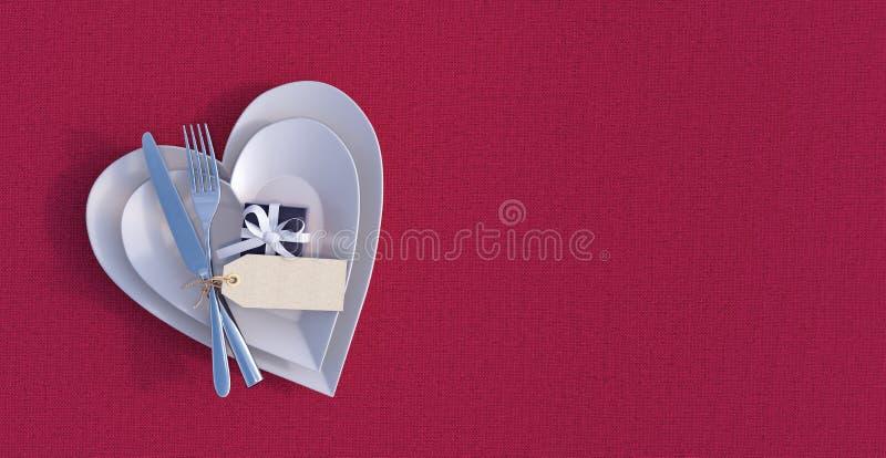 Het diner van romantisch Valentine het plaatsen royalty-vrije stock afbeeldingen