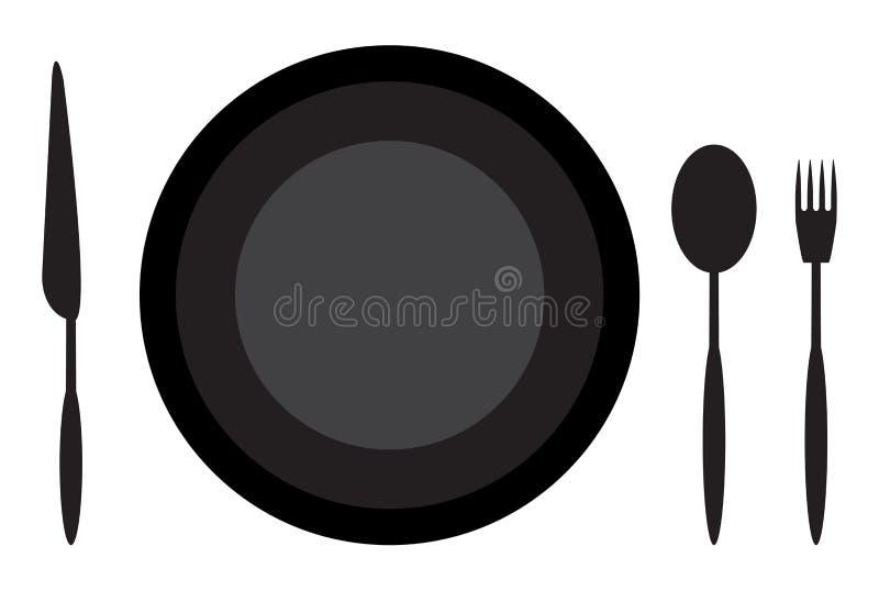 Het dineren de lepelmes en vork van de etiquetteplaat vector illustratie